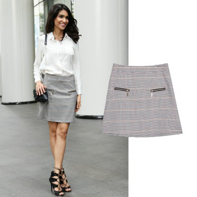 hot sale Patterned Skirt with Zippered Pockets pencil skirts office skirts for women