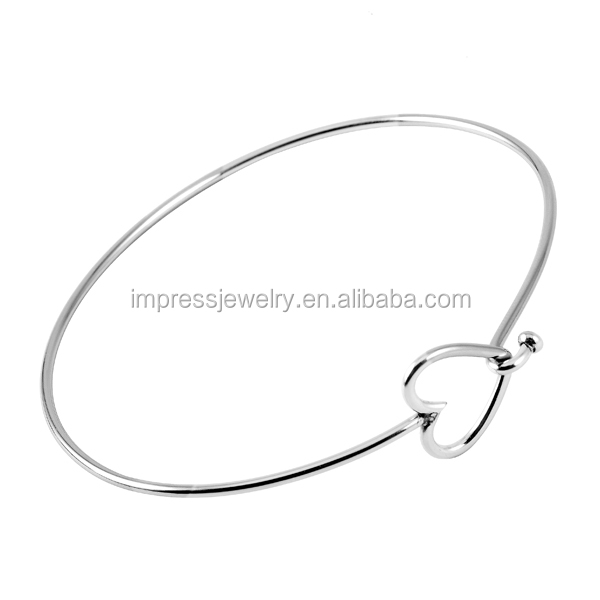 Cheap Wholesale Heart Adjustable Wire Bangle Bracelet Stainless Steel Jewelry Simple Hot Selling High Polished Expandable Bangle