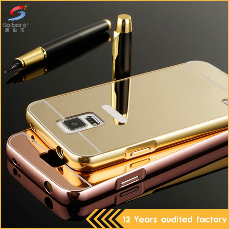 Newest arrival tempered glass back cover metal bumper case for samsung s5