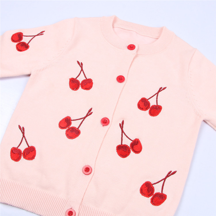 2 Color Cherry Sweaters Knitting Patterns Children Wool Sweater Design For Baby