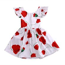 2018 Latest Design Baby Clothes printing Party baby birthday children girls ruffle sleeve dress