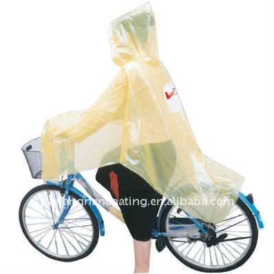 Waterproof dispoable clear cheap men's yellow bike rain poncho