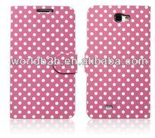 Polka Dots skin Leather Flip Cover Case for Samsung Galaxy Note 2/N7100