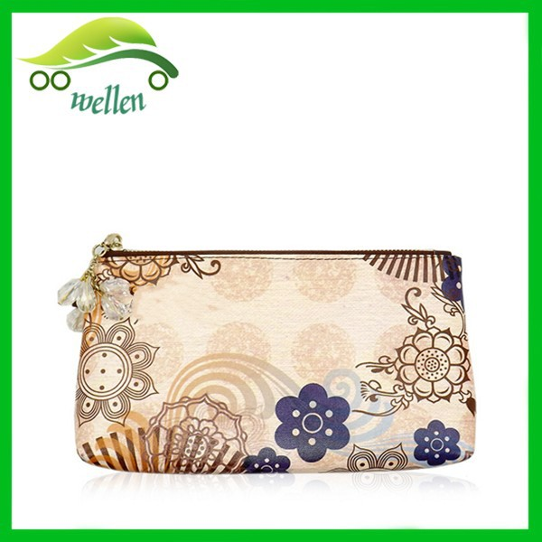 Classic golden flower printing retro ladies purse clutch bag handbag <strong>wallet</strong> with diamond chain