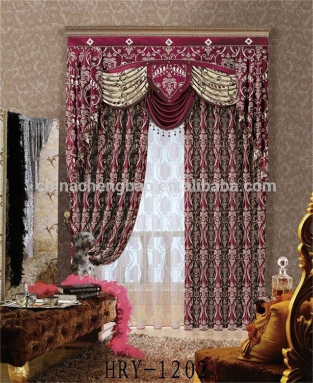 hotel luxury blackout fancy curtains made in guangzhou valances for living room
