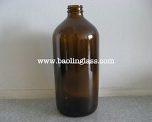 32oz 1L flint glass boston round bottle