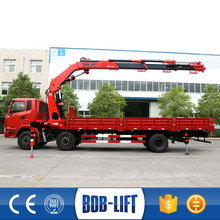 10 ton capacity lorry crane mounted on truck with OEM service