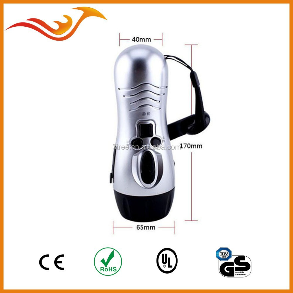 dynamo flashlight with radio and phone charging, alarm function