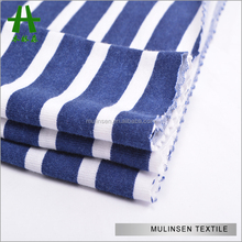 Mulinsen Textile Knitted Ring Poly Spun Navy Blue And White Stripe Fabric