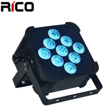 pro dj led par can light 9x18w rgbwa+uv 6in1 DMX wireless battery operated flat par