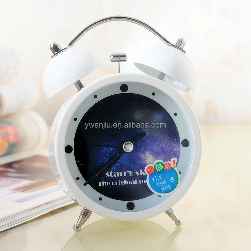 Supply Fashion colorful ultra-quiet with light Twin Bell alarm Clock --White star