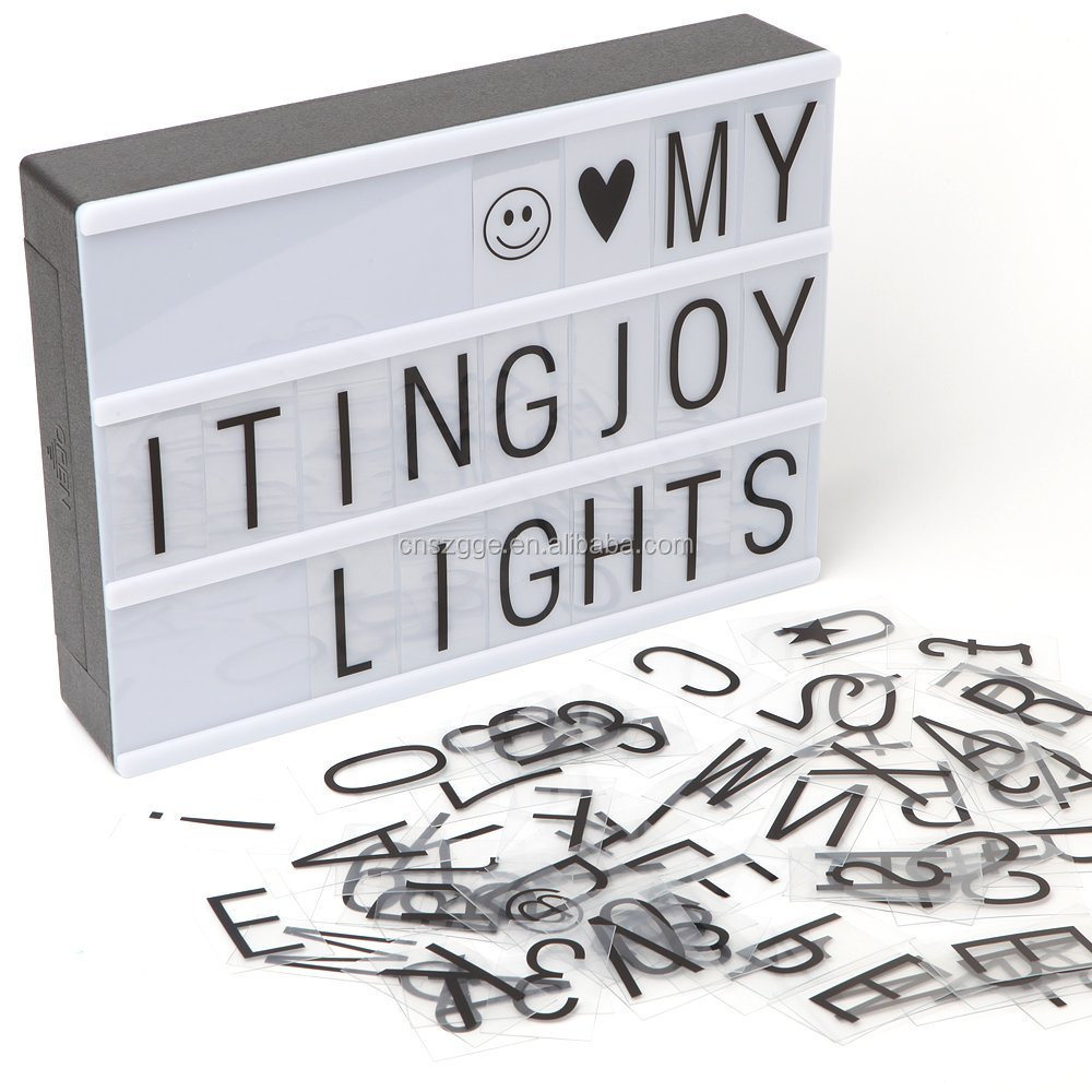 Itingjoy A5 Size USB or Rechargeable Battery Power Color Changing Cinema LED Box Cinematic Letter Light Box A5 With Letters