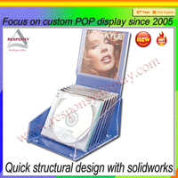 factory custom floor standing acrylic cd holder display stand