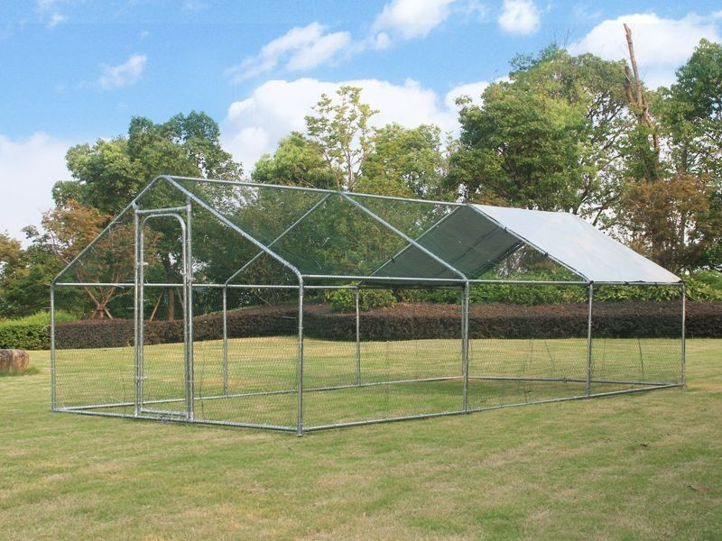 Metal Chicken Coop Run Hen House with Shade - 6M x 3M