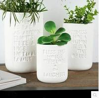 New design white painting concrete flower vase round engraved letter planter pot