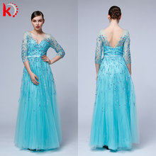 Full Length Backless Long Sleeve Lace Appliques Sequined Beading Plus Size Evening Dress