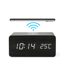 Multi-function Digital Wooden Wireless Charger Alarm Clock
