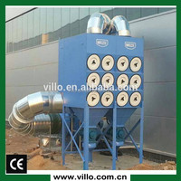 Slanting cartridge filter dust collection system for dust or fume extraction