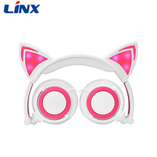 Best noise cancelling wired glowing cat ear headphones for parties from Shenzhen LINX