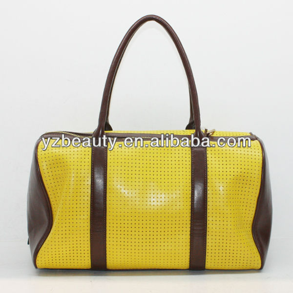 Yellow punch made in China turkey leather bags