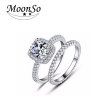wholesale high quality MOONSO engagement wedding jewelry ring set 3 carat diamond ring for women AR1090