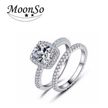 Commercio all'ingrosso <span class=keywords><strong>di</strong></span> alta qualità MOONSO engagement wedding jewelry set <span class=keywords><strong>anello</strong></span> <span class=keywords><strong>3</strong></span> carat diamond ring per le donne AR1090