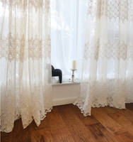 curtain with elegant fancy fashion flower geometry luxury embroidery lace sheer voile curtain