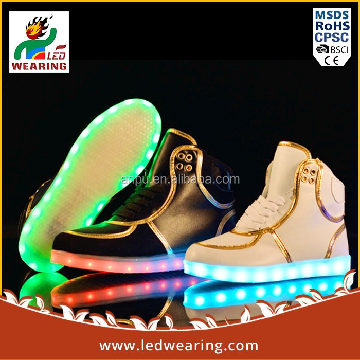 Best seller leather shoes with blinking light