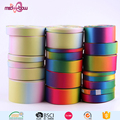 China wholesale printed 4 inch rainbow double sided polyester satin ribbon