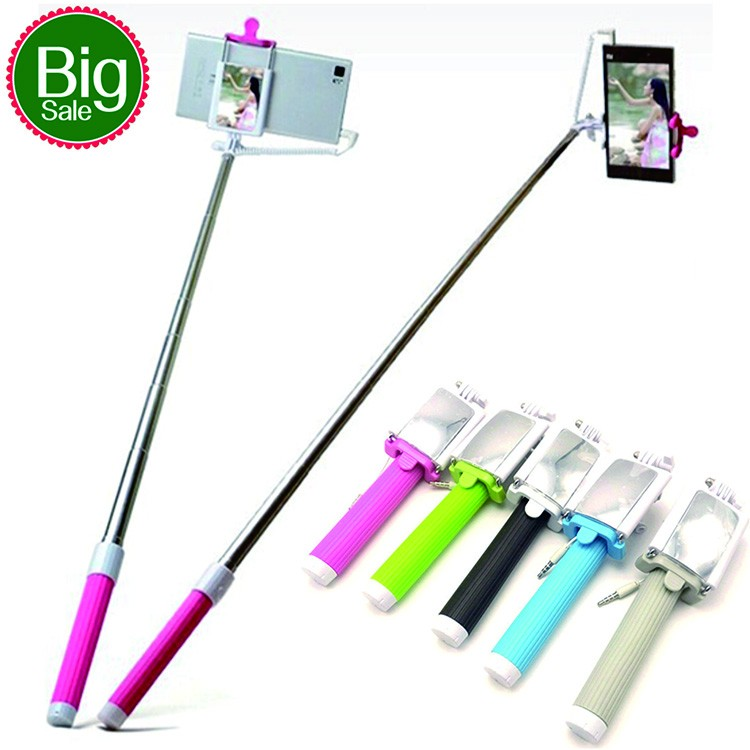 <strong>Mini</strong> wired handheld monopod with mirror selfie stick with mirror for cable