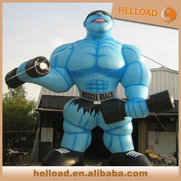 hot sale giant 6m blue inflatable muscle man character for outdoor promotion