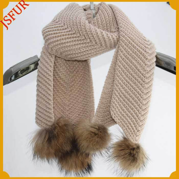 Scarf with real raccoon fur ball winter knit scarf