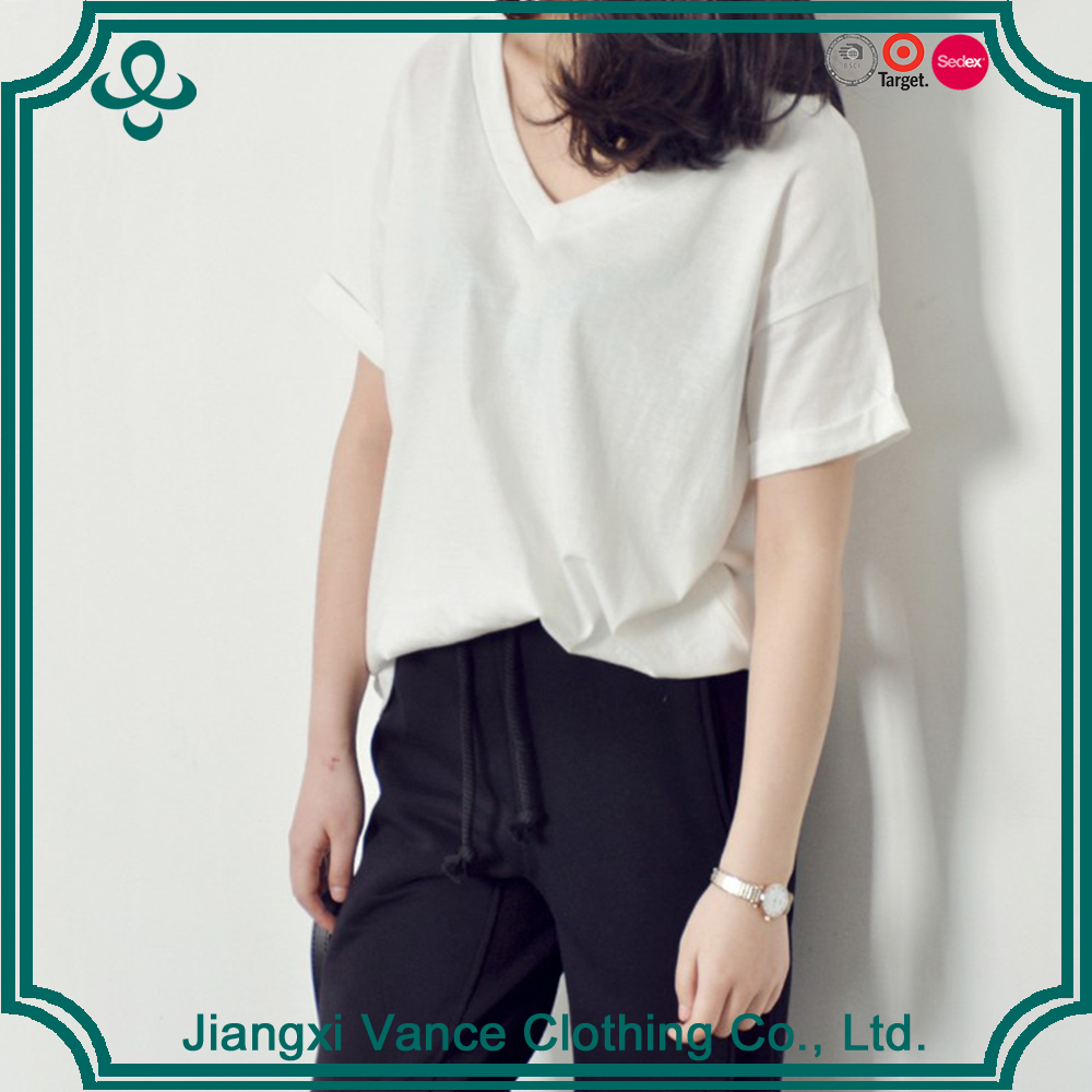 White Girl Fancy Design Basic Blank Fitted T-shirt China Factory Women Blank T Shirt With Wholesale Price