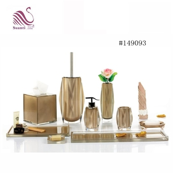 Factory Price Luxury Hand Painted Golden Resin Lotion Bottle Bathroom Accessories Set