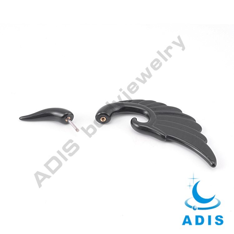 Hot selling wing shaped black acrylic fake ear tapers expander wholesale