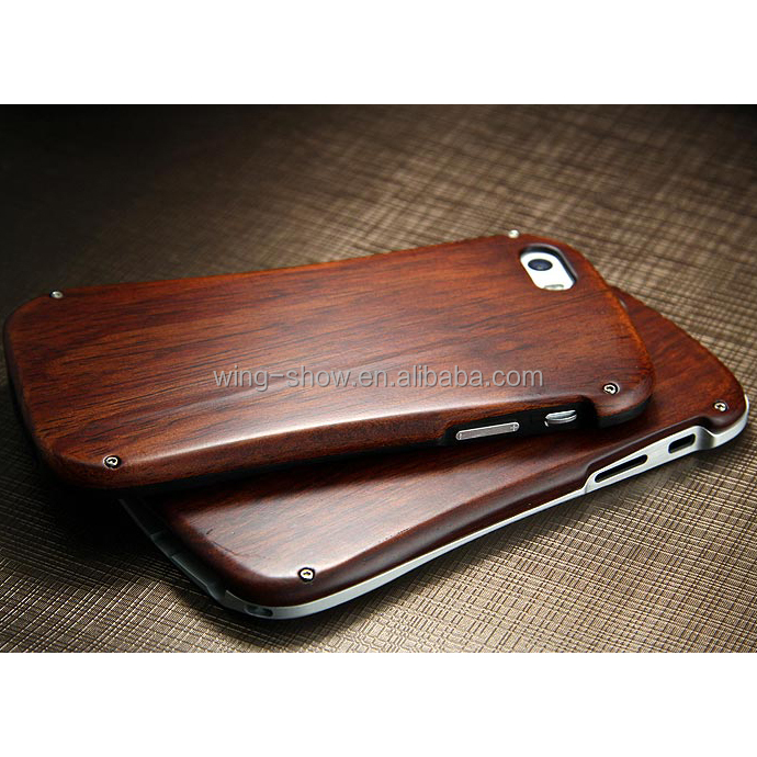 Luxury Protective Metal Wooden Case for Iphone 6s,decorative cell phone cases