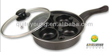 4 Cup carbon steel non stick Egg Poacher Fry Pan with glass lid