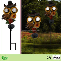 autumn outdoor decorative metal owl garden lawn lighting solar stake
