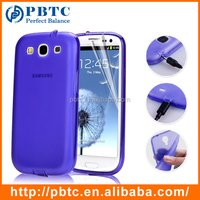 Set Screen Protector And Case For Samsung Galaxy S3 I9300 , Purple Silicone Cellphone Case