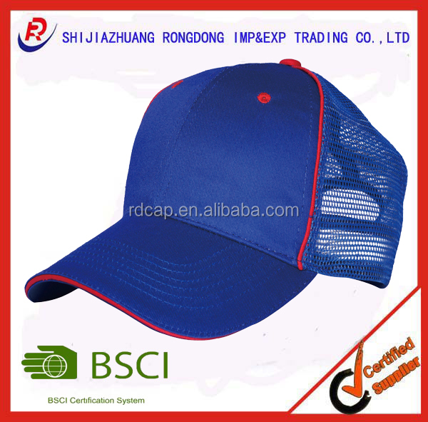 2016 custom 100%cotton twill/nylon mesh 6 panel mesh cap with sandwich