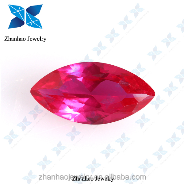 natural corundum marquise cutting /synthetic stone rough ruby/synthetic ruby ball