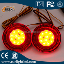 Automobiles Round LED Tail Parking Warning Lights For Qashqai LED Rear Bumper Reflector Brake Lamp Red Lens
