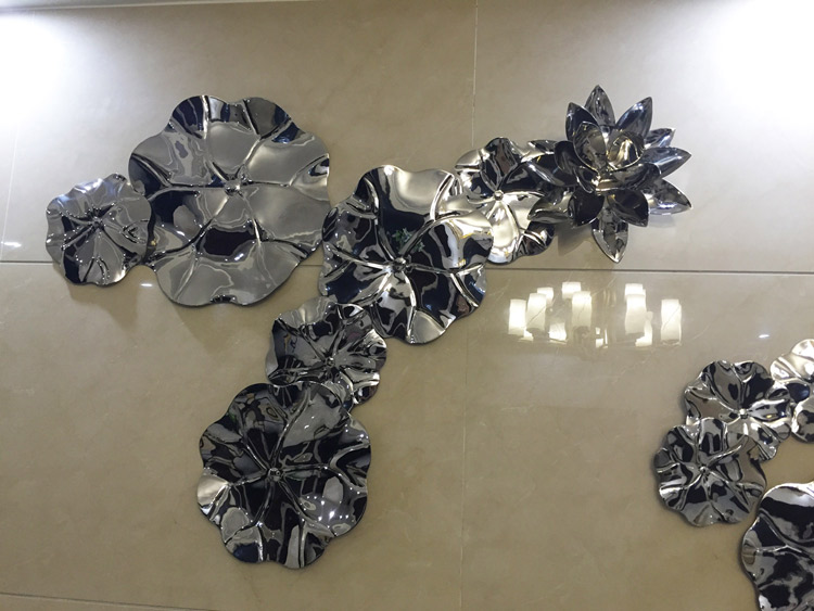Lotus metal wall sculpture artwork decoration for Interior design of luxury hotels and resort properties