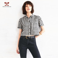 2016 Latest Fashion Blouse Design Preppy Style Classic Black White Checker Cotton Sarees Blouse Designs choli blouse designs