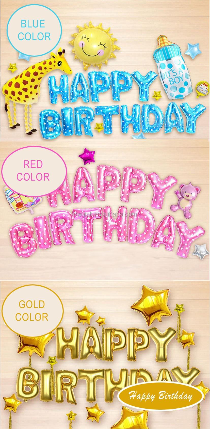 Personalizado Festa Feliz Aniversário Decoração Folha de Carta Balão Definir Ar Balões de Látex Inflável