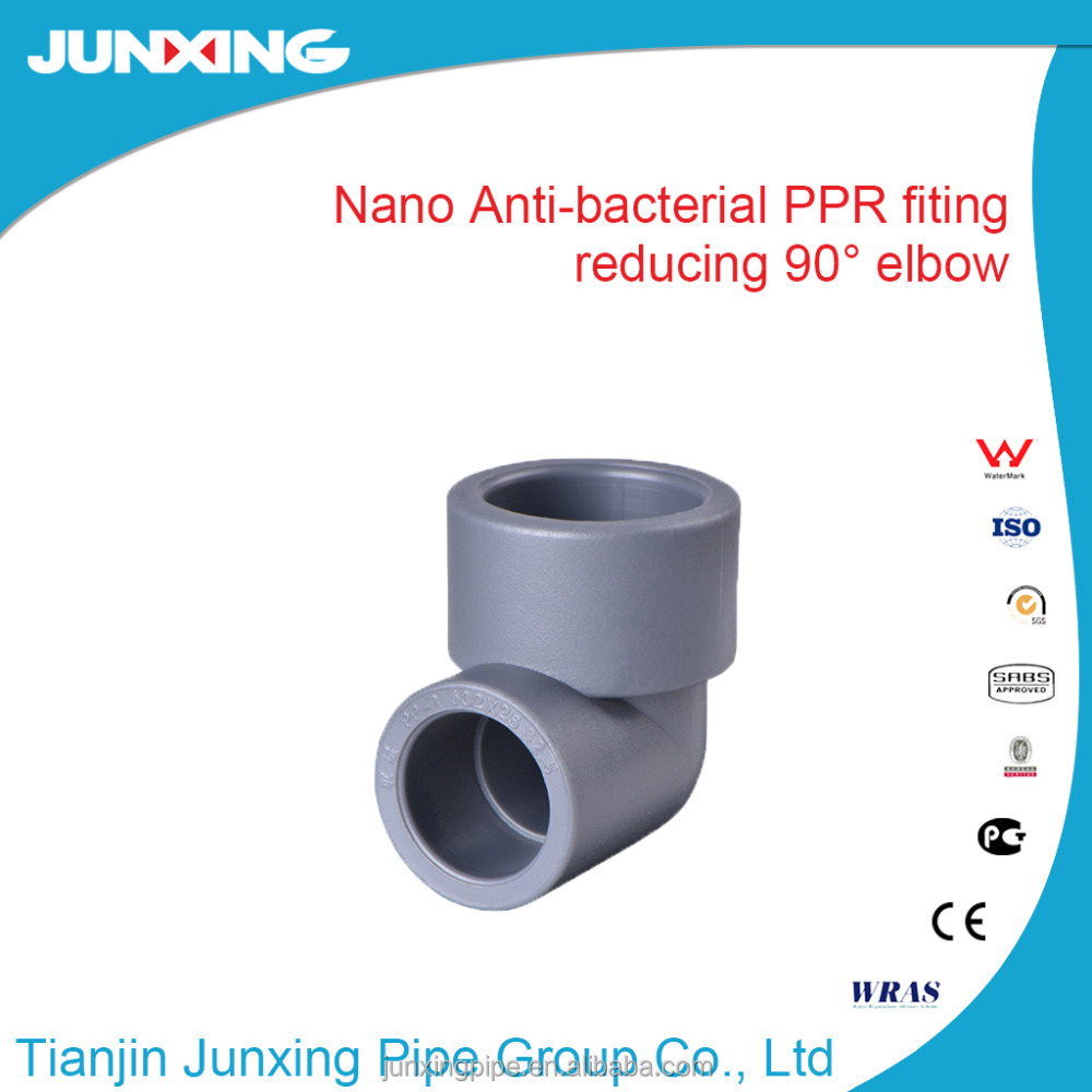 Nano Antibacterial PPR Pipe Fittings 90 degree reducing elbow for water system