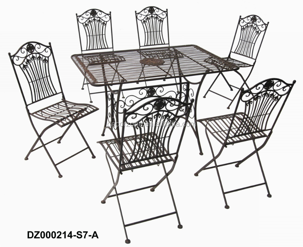 Rustic Iron Folding Dinning Table and Chairs Set (1 Table + 6 Chairs)
