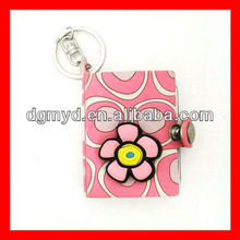 Pink flower Mini soft pvc notebook with key chains