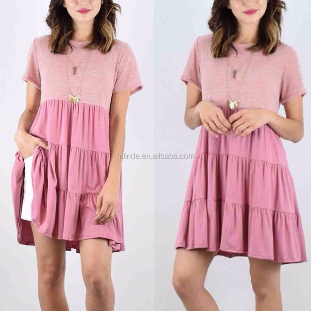 Pink Woman Dress Triple-Tier Empire-Waist pink Lady Fashion Design Dress Wholesale Custom Made Womens Tunic Dresses