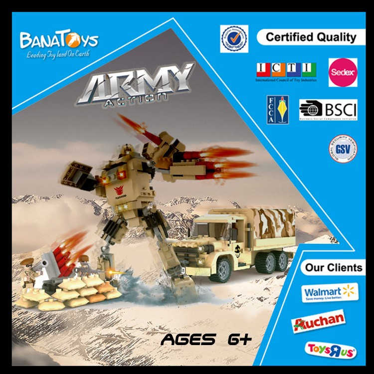 2016 popular item kids 3d building blocks with 283pcs army plastic building block
